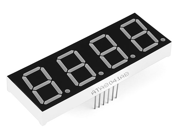 4 digit common cathode 7 segment LED Display - 13 mm - Red - COM-11405