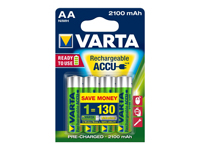 Varta LR06 - 1.2 V - 2100 mAh NiMH AA Battery - 4 Unit Blister Pack