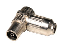 Right angle cable-mount female antenna connector - 75 Ohms, metal, 9.5 mm