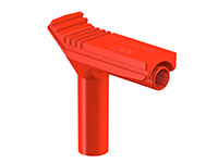 Stäubli XWA-4/19 - 4 mm Right Angle Mount Banana Adapter - Red - 66.9694-22