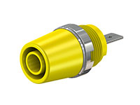 MULTI-CONTACT SAB4-F/A 23.3110-24 - 4 mm female banana jack panel mount socket with tab - yellow
