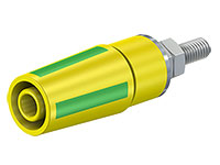 Multi-Contact SAB4-G/N-X - 4 mm Female Banana Jack Panel Mount Socket with blot - Yellow/Green - 49.7042-20