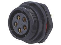 WEIPU SP21 Series IP68 - Conector Estanco Ø21 Hembra Base Panel 5 Contactos - SP2112/S5