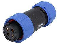 WEIPU SP21 Series IP68 - Conector Estanco Ø21 Hembra Aérea 4 Contactos - SP2110/S4