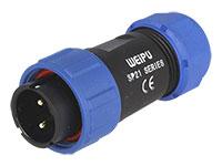 WEIPU SP21 Series IP68 - Conector Estanco Ø21 Macho Aéreo 2 Contactos - IP68 - SP2110/P2