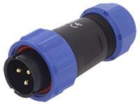 WEIPU SP21 Series IP68 - Conector Estanco Ø21 Macho Aéreo 3 Contactos - SP2110/P3