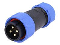 WEIPU SP21 Series IP68 - Conector Estanco Ø21 Macho Aéreo 4 Contactos - SP2110/P4