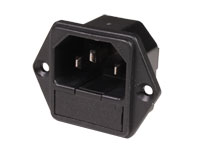 IEC 60320 C14 Chassis-Mount Male Connector with Fuse Holder - 31.207