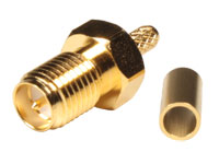 Straight Cable-Mount SMA Reverse polarity Female Crimp Connector for RG174 - RP SMA