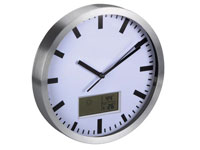 Wall Clock with LCD Screen - Thermometer and Hygrometer - Aluminium - Ø 25 cm - WC25