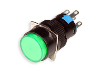 SERIES 74 - 1NO + 1NC - LED 12 V - Ø16 mm - Push button without interlocking - green