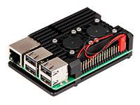 "jOY-it ARMOR CASE ""BLOCK ACTIVE"" - Caixa Raspberry Pi 3 Modelo B Preta - Alumínio - com Dissipador e Dupla Ventoinha - RB-ALUcase+07FAN"
