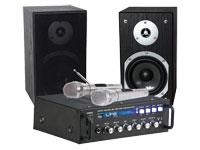 AMPLIFICADOR DE AUDIO KARAOKE, MP3, BLUETOOTH, MICROFONOS, ALTAVOCES
