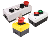 Button switch control boxes