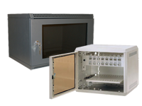 Wall-mount rack enclosure cabinets