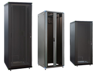 Floor mount rack enclosure cabinets - glass door